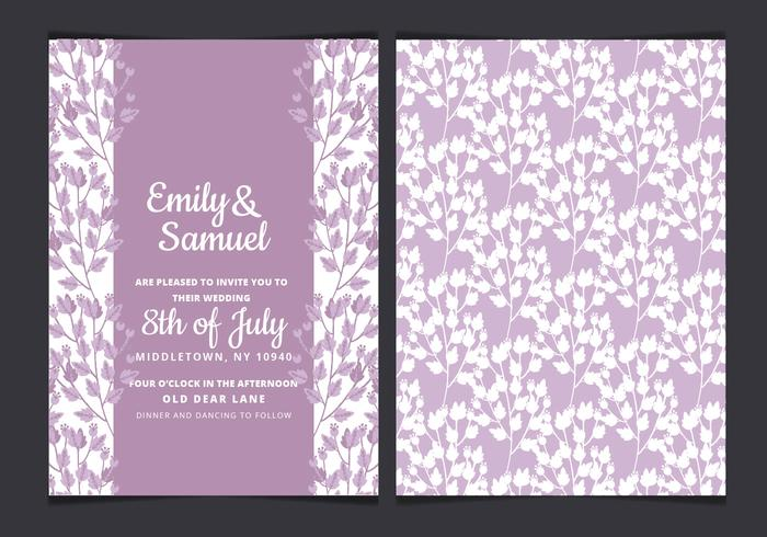 Vector Watercolor Wedding Invitation with Purple Branches