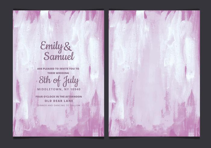 Vector Purple Watercolor Wedding Invitation