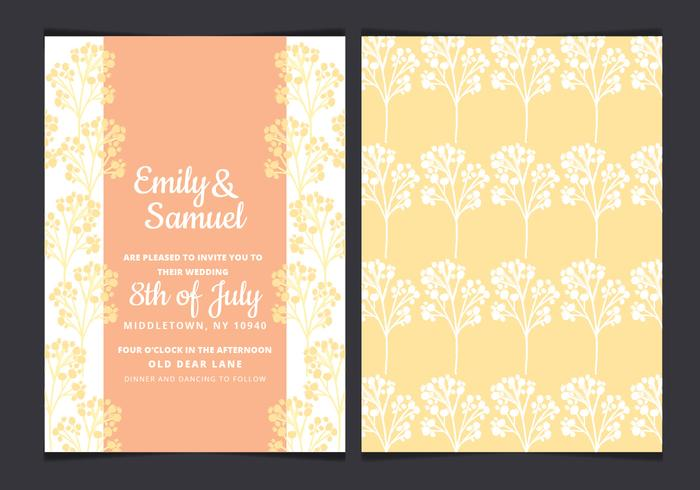 Vector Yellow Branches Wedding Invitation