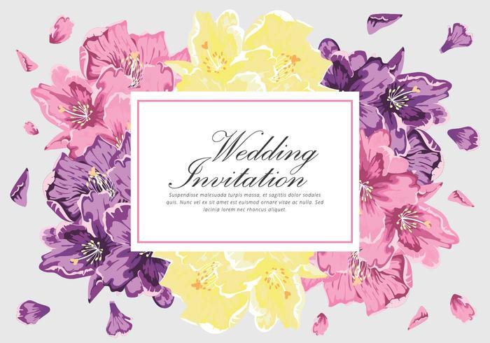 Tarjeta del vector de la invitación del rododendro