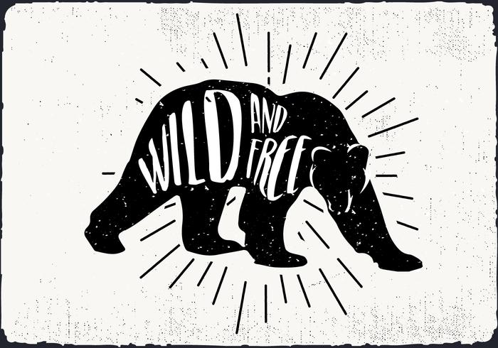 Free Vector Bear Silhouette Illustration With Typography