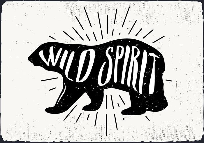 Ilustração vetorial livre urso silhueta com tipografia