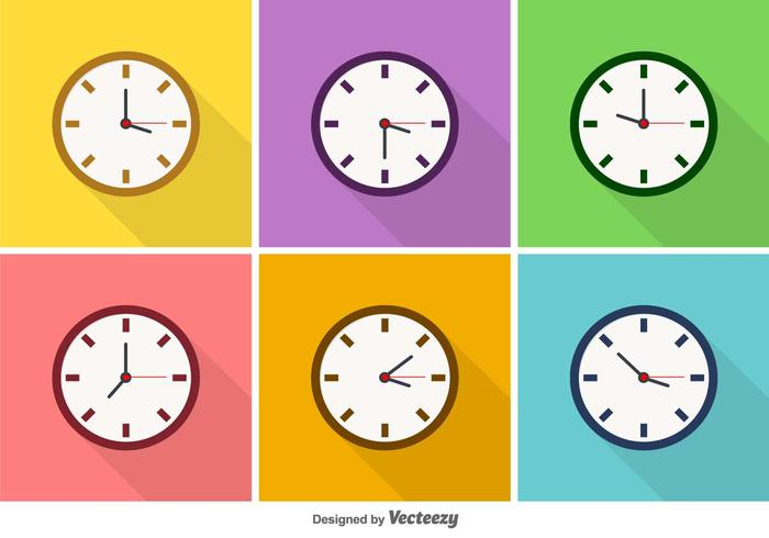 Vector Colorful Clock Icons