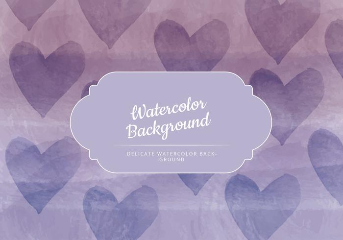 Vector Hearts Watercolor Background