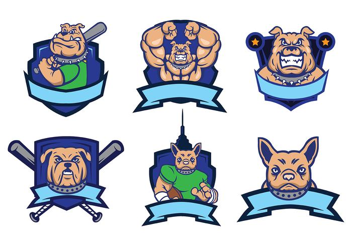 Bulldog Mascota Vector Set Logo