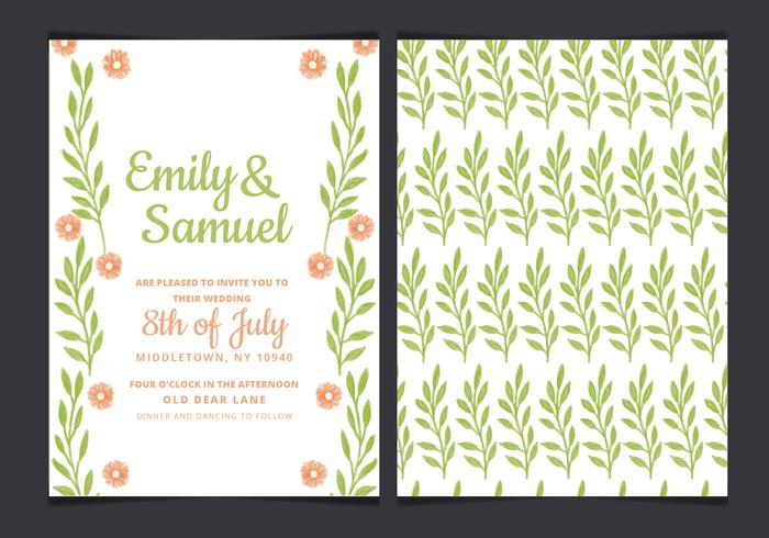 Vector Green Wedding Invitation
