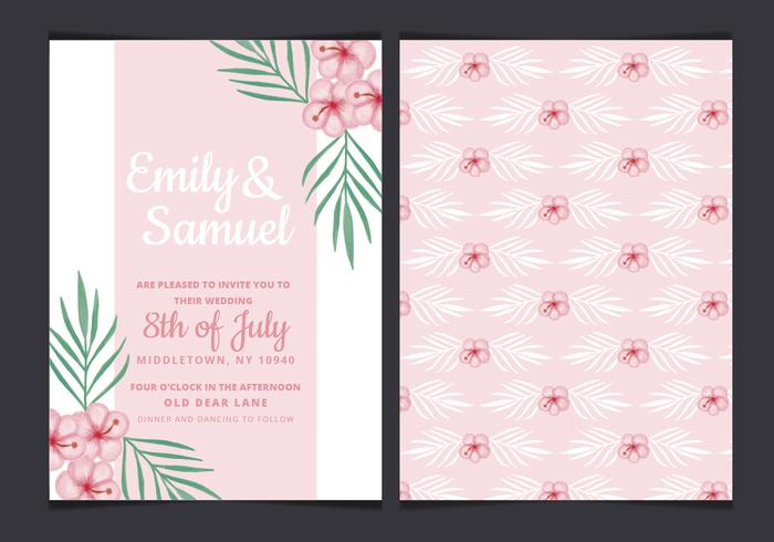 Vector Tropical Wedding Invitation