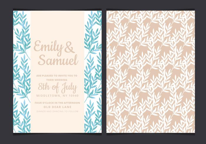 Vector Blue Branches Wedding Invitation