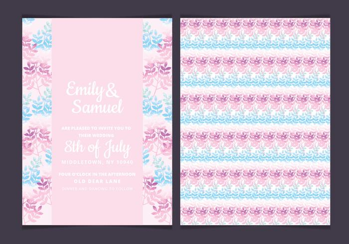 Vector Pink Branches Wedding Invitation