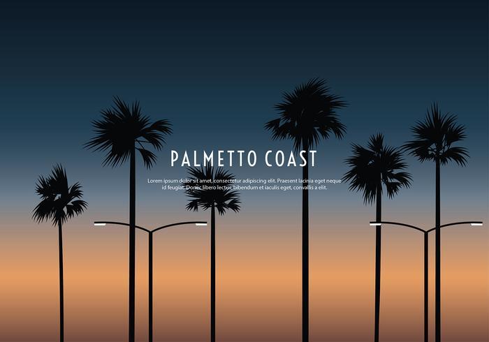 Palmetto Costa Silhueta Vector Livre