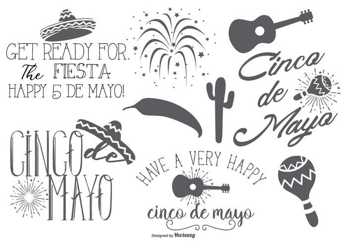 Etiquetas e elementos de Cinco de Mayo