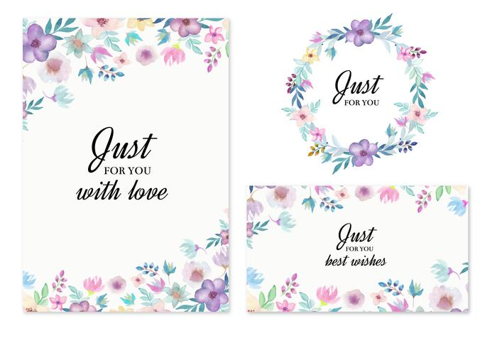 free vector wedding invitation with watercolor flowers download