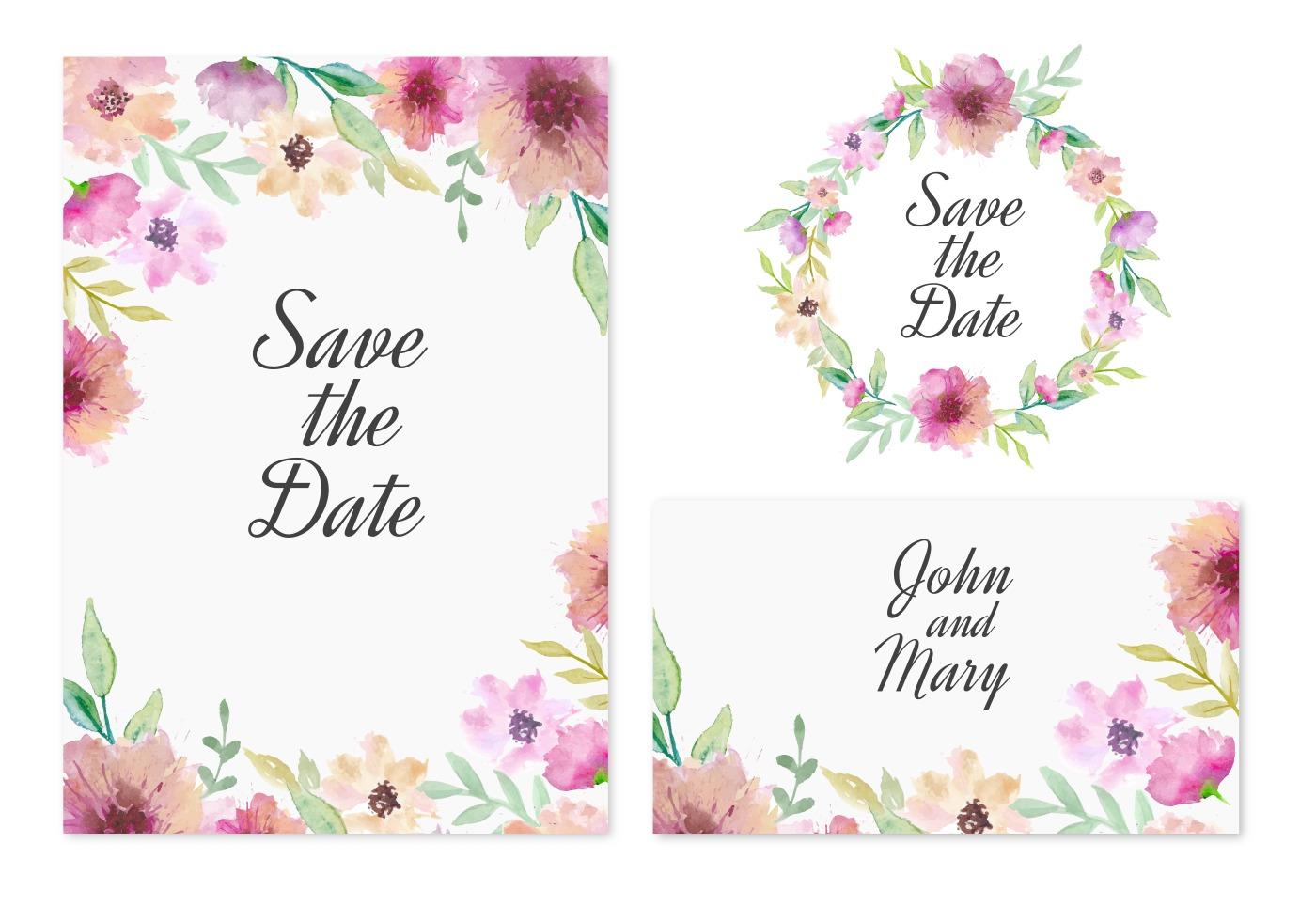 Freier vektor retten die Datums-Karte mit rosa Aquarell-Blumen ...