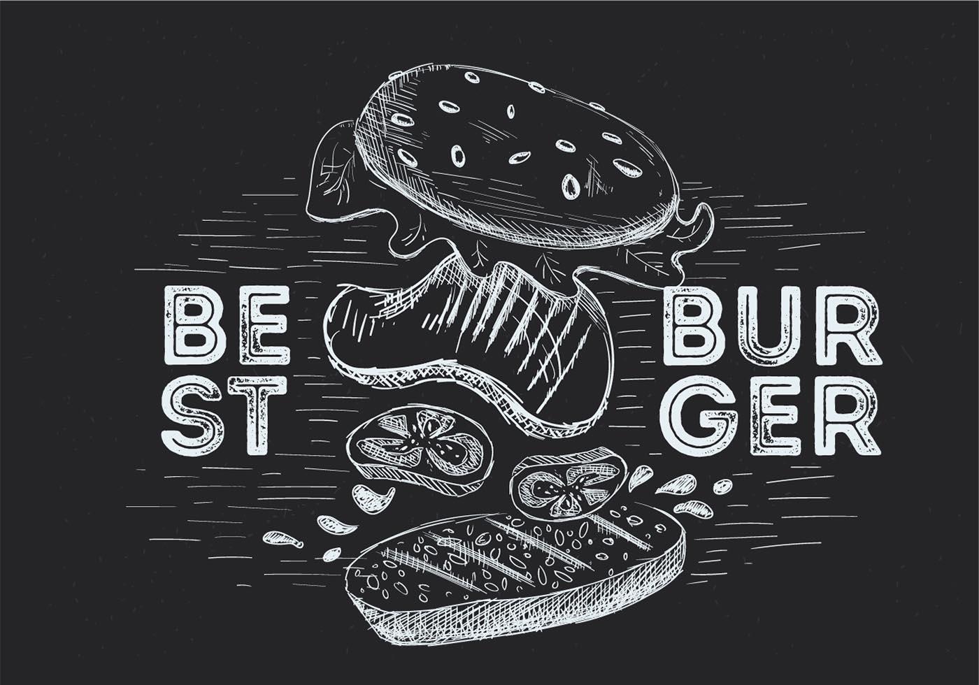 Меловые картинки бургер