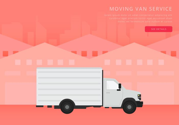 Flytta van eller lastbil. Transport eller leverans illustration.