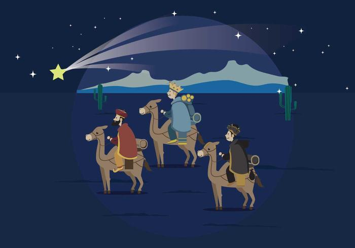 Three Wise Man Carrying Gold For Baby Jesus Illustration