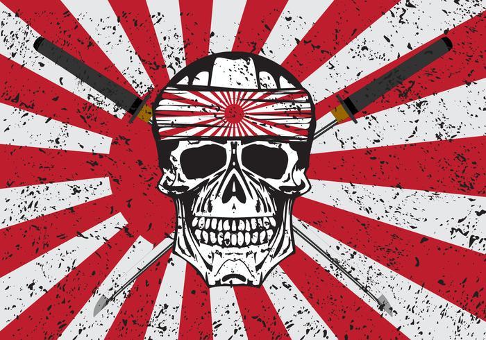 Kamikaze Skull Vector Background