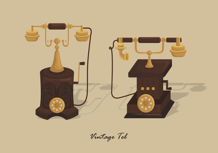 Vintage Gold Telephone Vector Illustration