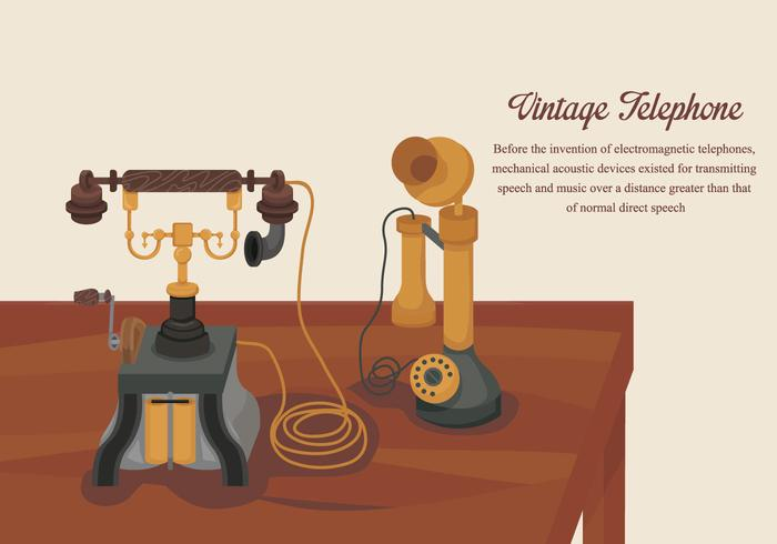 Classic Vintage Gold Telephone Vector Illustration