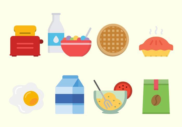 Vectores planos del desayuno