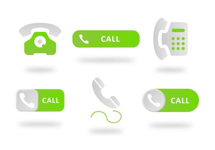Bouton téléphone vert plat