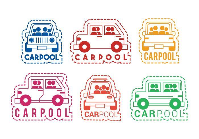 Carpool, vetorial, ícone, etiqueta, jogo