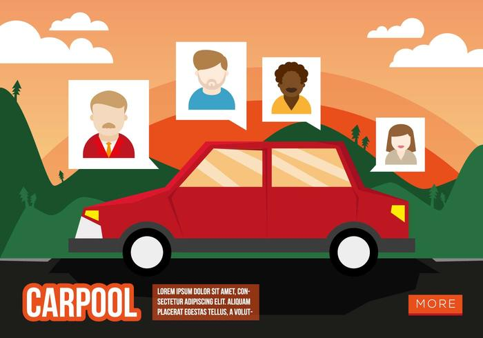 Carpool Flat Illustration Vector