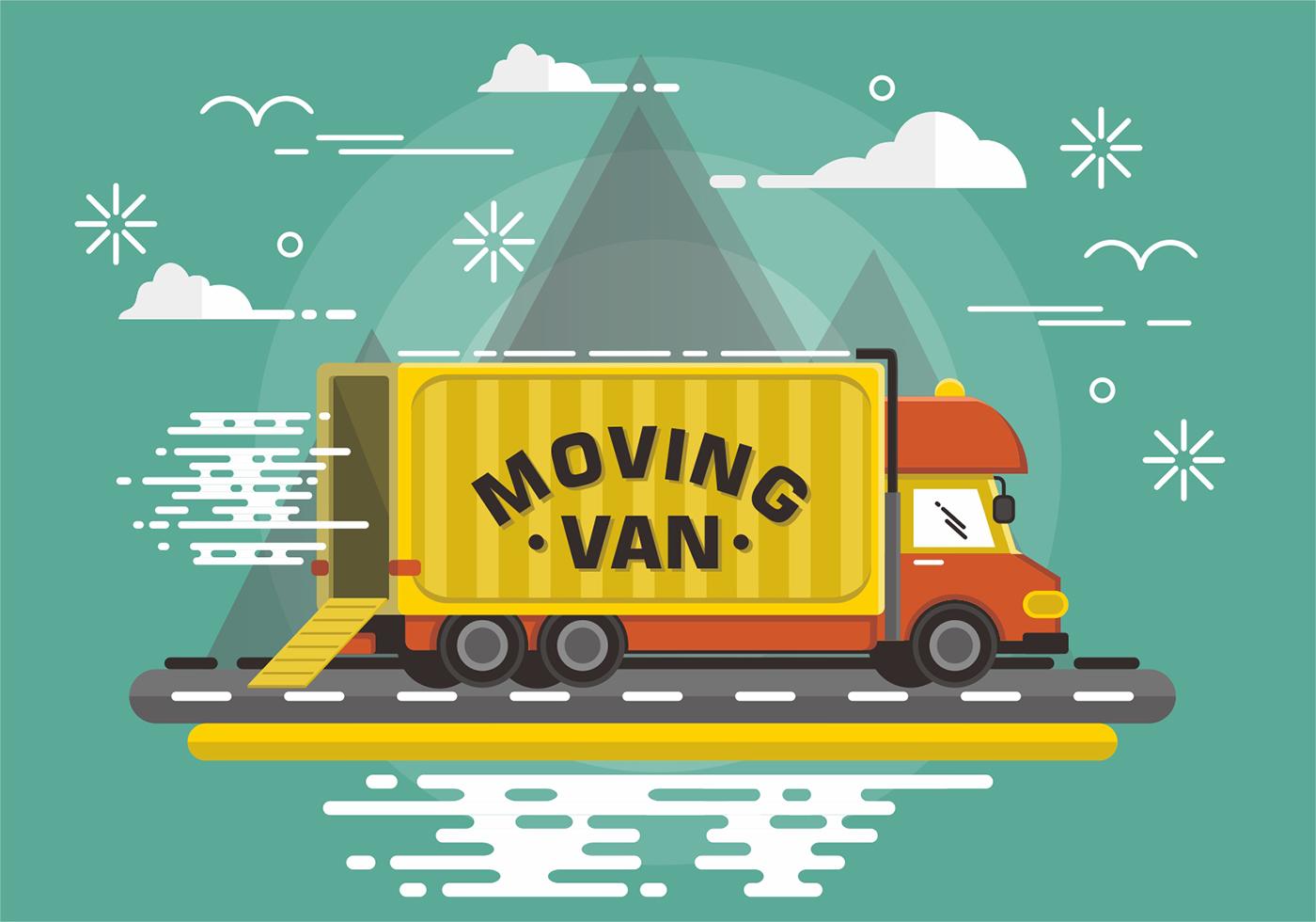 Flat Moving Van Vector Design Download Free Vectors