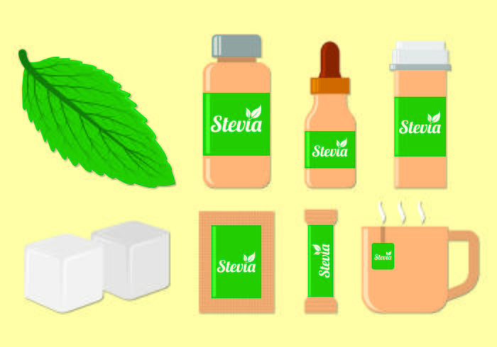 Set Of Stevia Sugar Vectors