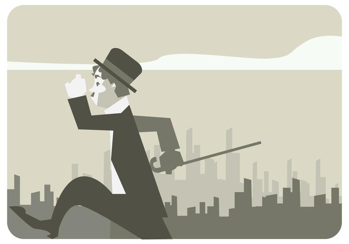 Charlie Chaplin Walking in The City Street Vector