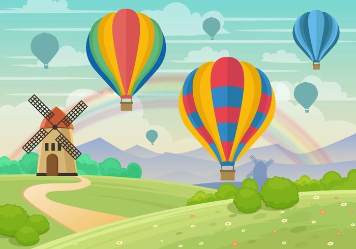 Whimsical Hot Air Ballon Landscape Vector