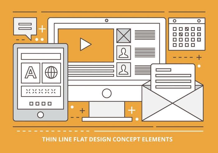 Free Flat Linear Vector Design Illustration