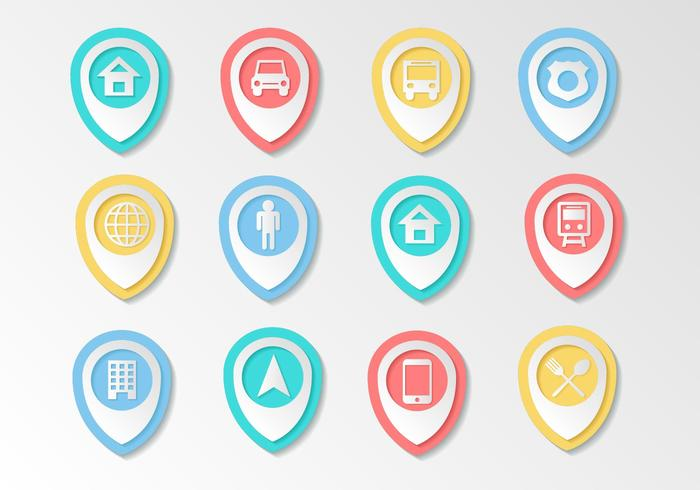 Free Map Pointer Icons Vector