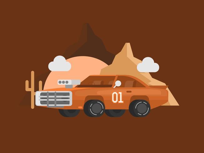 Orange Vintage Muscle Car Illustration