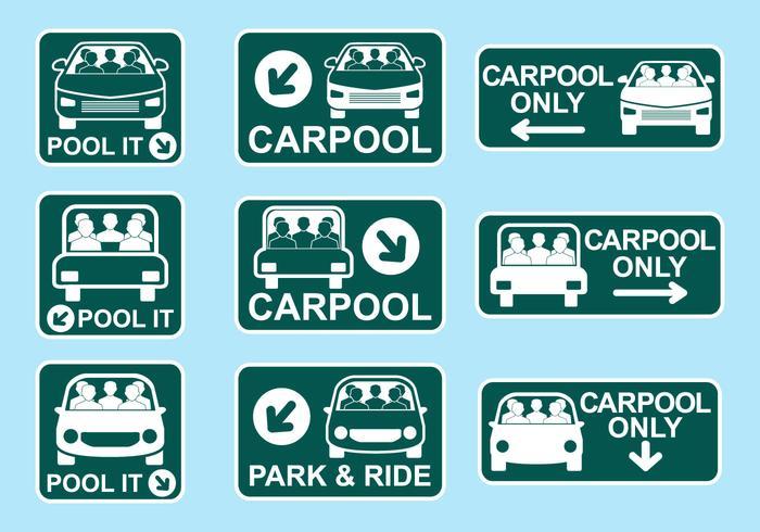 Carpool Sign Icon Vectors