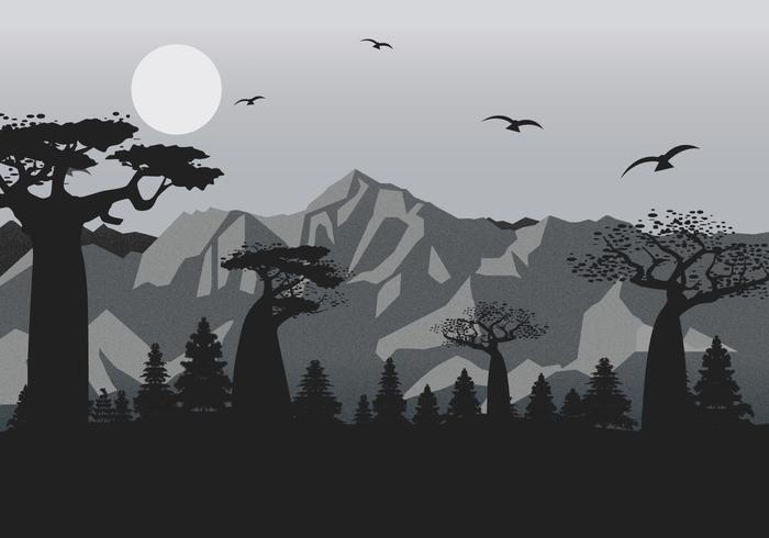 Mountain Landscape with Film Grain Effect Vector