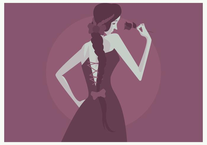 Girl With Plait And Rose Vector