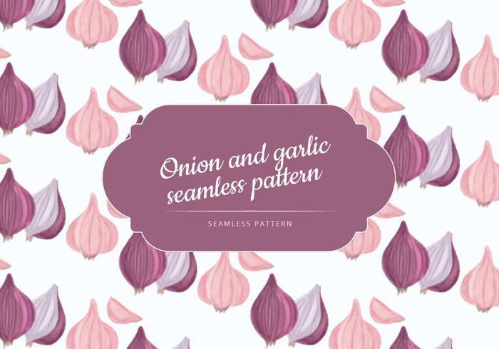 Vector Hand Drawn Garlic and Onion Pattern