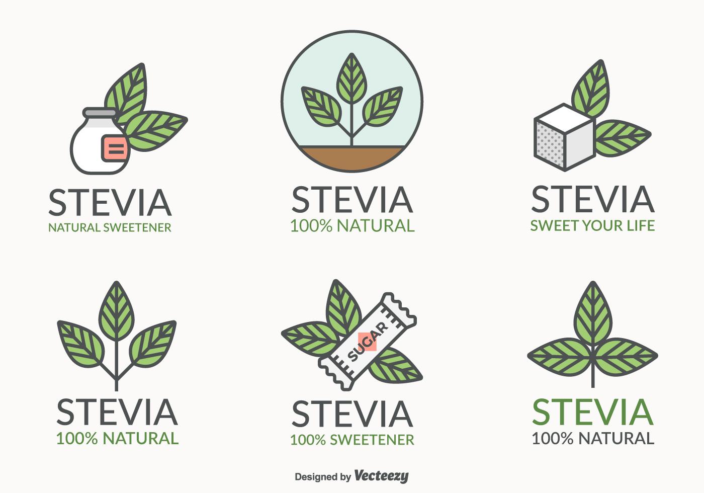 stevia leaf natural sweetener vector logo set download