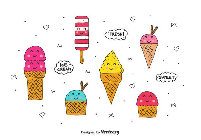 Conjunto de helado de dibujos animados