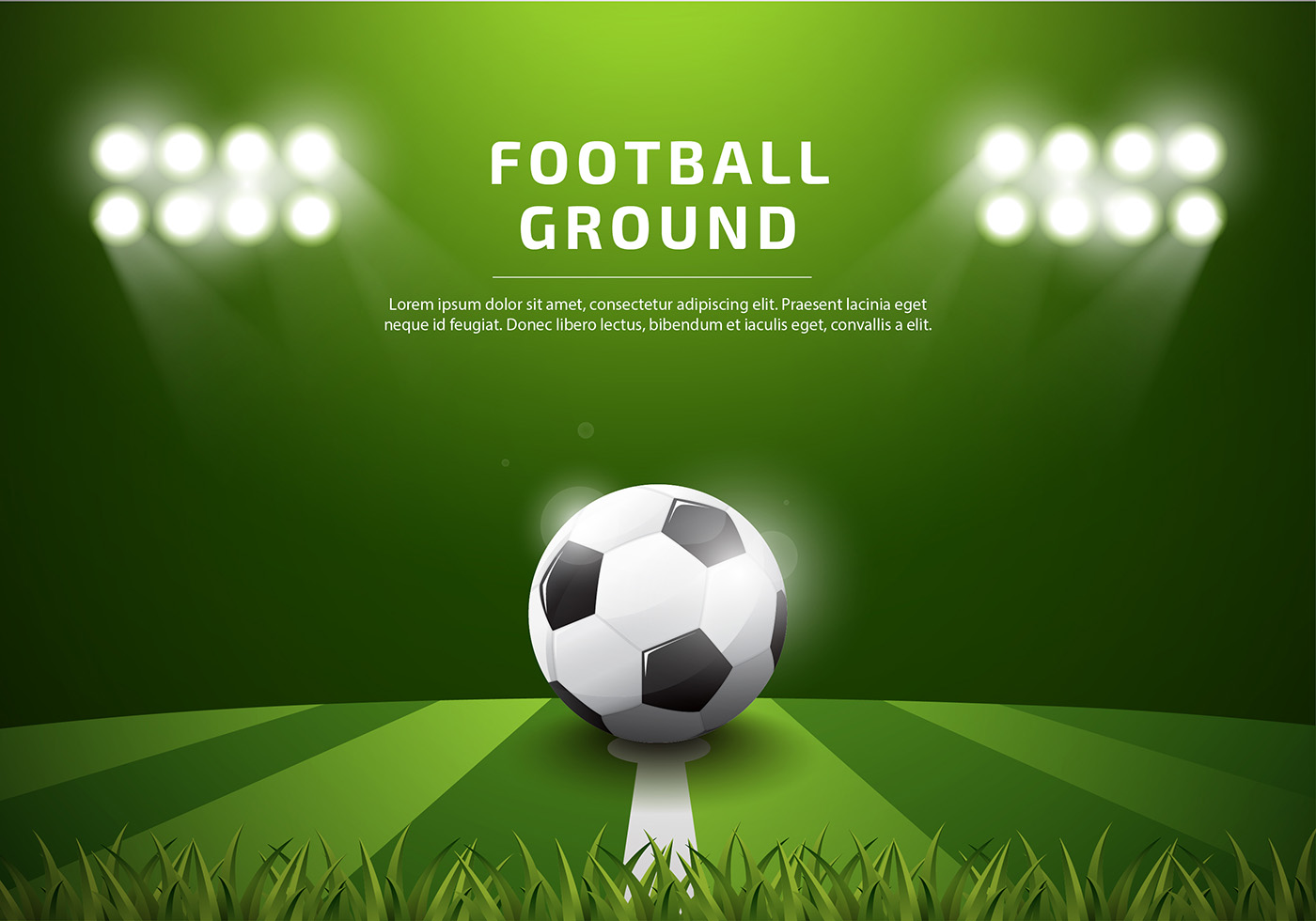 footbal ground template realistic vector