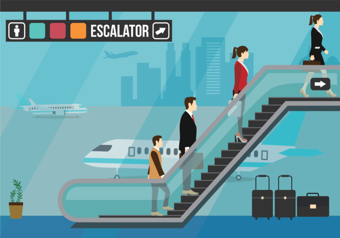 Escalator Vector Illustration