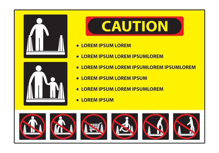 Señal de precaución de escalera mecánica