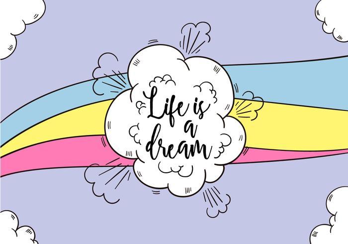 Nubes y arco iris con cita de motivación sobre la vida vector