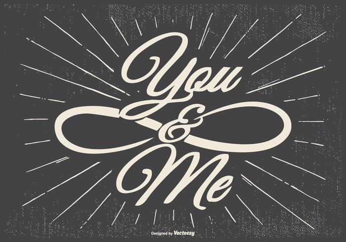 You and Me Typographic Illustration