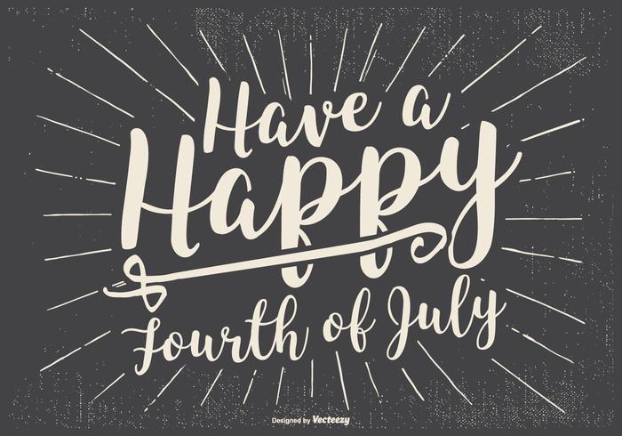 Rero tipográfico feliz 4o da ilustração de julho