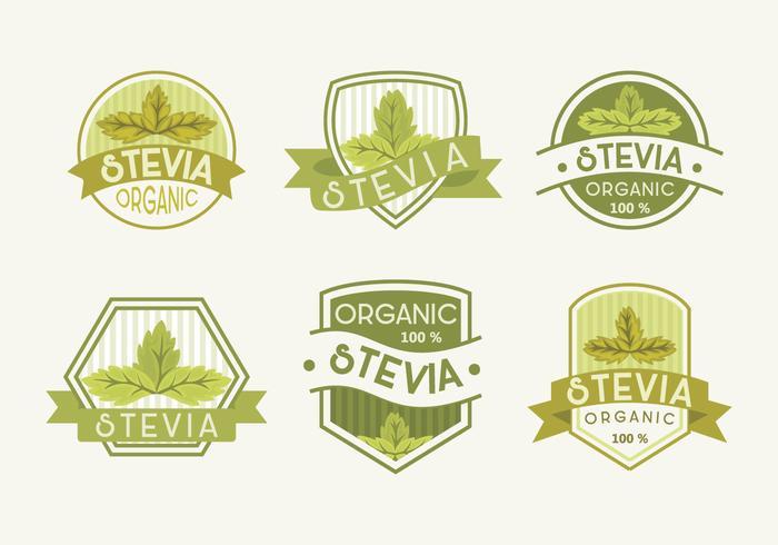 Fresh Green Stevia Label Vector Illustration
