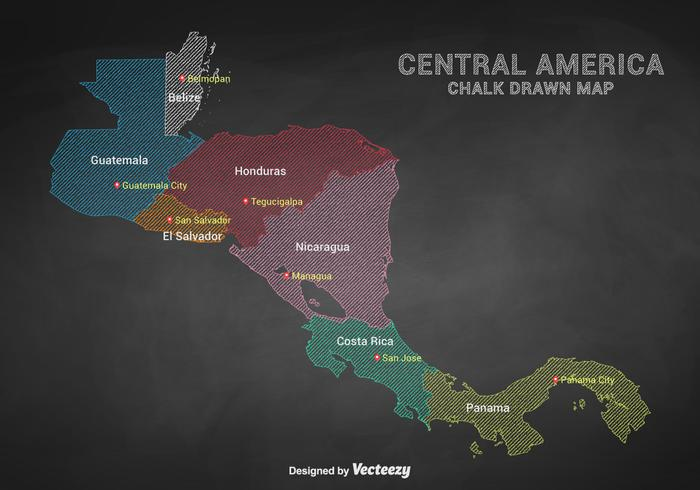 Chalk Drawn Central America Capital Cities Map