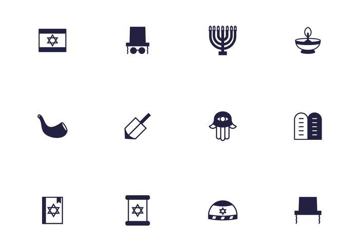 Silhouette Jewish Religious Icon Vectors