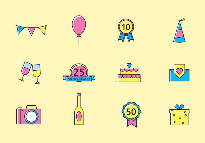 Bright Anniversary Icons